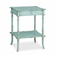 Redford House Clover Side Table in Robin's Egg Blue ($724) ❤ liked on Polyvore featuring home, furniture, tables, accent tables, shelves furniture, shelf furniture, shelf table and shelving furniture