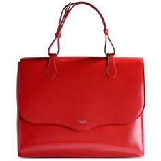 Rochas Red Leather Top-Handle Bag ($1,540) ❤ liked on Polyvore featuring bags, handbags, red, red bag, red handbags, leather handbags, rochas handbags and genuine leather purse