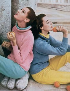 Chunky Knits, July 1965  As the Melbourne Olympics approached, Vogue flew its team the considerable distance to Australia. In Victoria, the weather is always unpredictable, so Vogue chose an all-year-round combination of colourful chunky-knitted sweaters in pink and lavender (with vivid under-collars), worn stylishly with contrasting slim-tapered slacks. All by Jaeger and perfect, said Vogue, for 'lounging around at home or indeed abroad'.