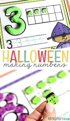Number mats are a great resource for every math cabinet. Grab these free Halloween math mats and find out what resources make them easy for classroom use. Halloween Math, Halloween Activities, Halloween Ideas, Halloween Week, Halloween Printable, Halloween Books, Toddler Learning Activities, Preschool Activities, Monster Activities