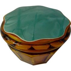 Amber Glass Vanity Powder Jar Box Celluloid Plastic Lid Vintage Paneled offered by Saltymaggie's Treasures