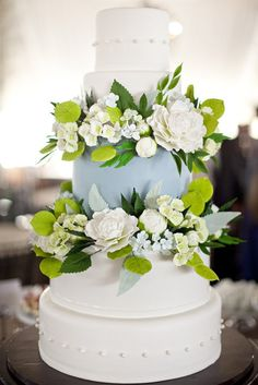 """Blue is one lucky color. And for that reason, we're channeling the positive energy with these gorgeous """"something blue"""" wedding cakes! See some of the fanciest, cool blue cakes below for some sweet inspiration. Beautiful Wedding Cakes, Gorgeous Cakes, Pretty Cakes, Cute Cakes, Amazing Cakes, Beautiful Flowers, Bolo Fondant, Wedding Cake Inspiration, Wedding Ideas"""