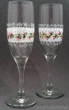 Glassware - Hand Painted Champagne Flutes: Ribbon Rose - Unique Gifts - HandCraftsByPat