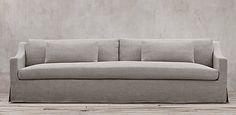 Restoration Hardware - Belgian Classic Slope Arm.  6 lengths, 2 depths, 93 fabrics. Slipcovered & upholstered. Shown in fog Belgian Linen. Starting at $1695 retail.
