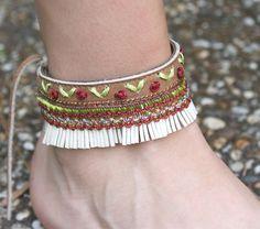 Leather ankle bracel...