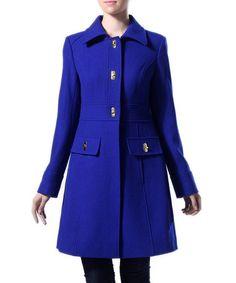 Look at this #zulilyfind! Royal Blue Taylor Turn-Key Wool-Blend Single Breasted Coat #zulilyfinds