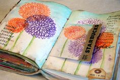 mixed media by the fab Donna Downey . even after her ceiling caved in she… Art Journal Pages, Drawing Journal, Art Journals, Mixed Media Journal, Mixed Media Canvas, Mixed Media Art, Moleskine, Art Journal Tutorial, Altered Book Art