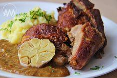 V kuchyni vždy otevřeno ...: Vepřové ocásky na celeru s pečeným česnekem Food Videos, Steak, French Toast, Pork, Food And Drink, Tasty, Breakfast, Foods, Kale Stir Fry