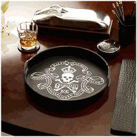 Ralph Lauren Skull & Crossbone Black Leather Tray  Silver Leaf Detailing