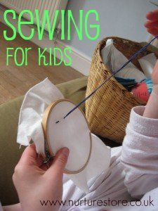 Ideas for simple sewing projects for kids, with a link to Maya Made's blog for a great how-to for creating a starting embroidering kit
