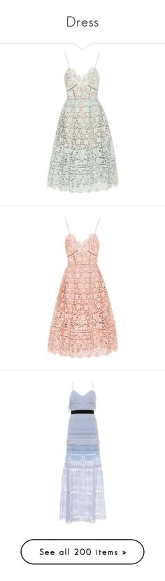 """""""Dress"""" by dangngocthaoquynh ❤ liked on Polyvore featuring dresses, green, white colour dress, lacy white dress, white color dress, lacy dress, green white dress, pink, self portrait dress and lace dress"""