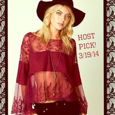 I just discovered this while shopping on Poshmark: 🎉 Host Pick! 🎉 3/19/14 Free People Lace Top, M. Check it out!  Size: M