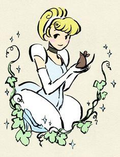 Colored Princess Sketches Original Artwork: Érica Nagai  Coloring: Rachel  #disney #princess