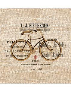 Digital download image Vintage bicycle print French ephemera ads Paris fleur de lis for transfer to fabric burlap paper tote bags No. 493