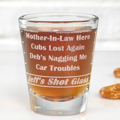 The A Groom's Last Shot Personalized Shot Glass is the perfect gift for any husband to be. The shot glass will be laser etched with any name and 4 lines of text.