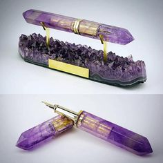This is an amazing and beautiful looking Fountain Pen made out of Amethyst!!