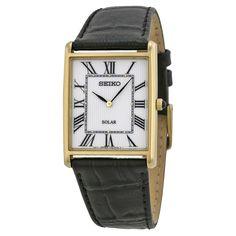 $90 Seiko Solar White Dial Black Leather Men's Watch SUP880 - Solar - Seiko - Watches  - Jomashop