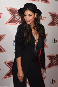 Nicole Scherzinger stuns in low-cut blouse for X Factor | Daily Mail Online