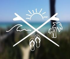 Your place to buy and sell all things handmade - DECAL {Beach Life} Beach Decal Phone Decals, Yeti Decals, Car Window Decals, Laptop Decal, Vinyl Decals, Car Decals, Element Tattoo, Tattoos For Guys, Cool Tattoos
