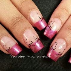 Valentines Day nails polkadot cut out hearts pink hologram french by karalee nail artist