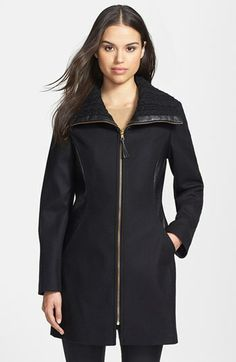 Via Spiga Knit Collar Wool Blend Coat available at #Nordstrom