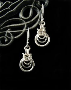 Sterling Silver Byzantine Ripple Chainmaille Earrings
