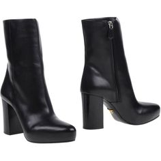 Prada Ankle Boots ($545) ❤ liked on Polyvore featuring shoes, boots, ankle booties, black, leather bootie, leather ankle boots, black boots, black leather booties and black booties