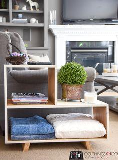 Mid-century-modern side table, mcm side table, mid-century-modern nightstand, mid-century-modern bookshelf, simple DIY bookshelf