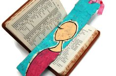 Original winking woman in pink paper bookmark by callyscreationsuk