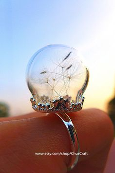 Real Dandelion Ring, Dandelion Seed Ring, Real Dandelion Jewellery, Dandelion Wish Ring, Make a Wish Ring, Terrarium Ring, Nature Ring