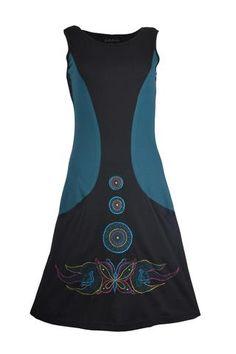 TATTOPANI Ladies Black and Green Sleeveless Dress With Side Pocket