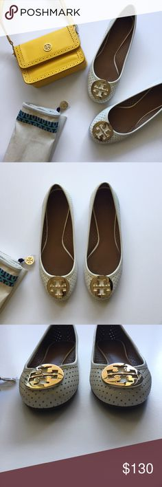Tory Burch Reva Perforated Ballet Flat Good used condition   Size 7   Some wear on bottom heels, but sole is good condition   See pictures 3 & 4 for blemish on back heels   Dust bag included (don't have the box anymore)   Perfect for the upcoming spring/summer season!   See my other listing for the yellow Robinson Spectator Mini Cross Body Bag 😉 Tory Burch Shoes