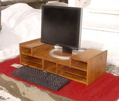 Oak Desk Computer Organizer Monitor Stand Riser by varmeck on Etsy