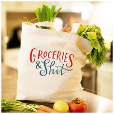 The Original Groceries & Shit Tote Bag Large Sturdy Heavyweight Canvas Grocery Bag by Emily McDowell USD) by emilymcdowellstudio Tote Bags, Lv Bags, Look Here, Large Bags, Cool Stuff, Stuff To Buy, Hilarious Stuff, Random Stuff, Screen Printing