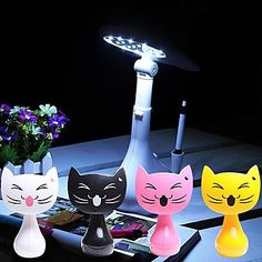 DIY Design Of White LED Kitten Rechargeable Table Lamp (USB Rechargeable) – USD $ 26.99