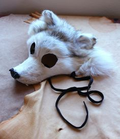 RESERVED  - Real eco-friendly white Arctic wolf fur totem mask with fangs headdress for shamanic ritual, costume, totemic dance. $175.00, via Etsy.