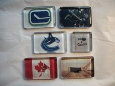 6 Vancouver Canucks Canada NHL Hockey Glass Magnets! by BadCatCraft on Etsy