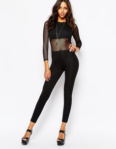 Boohoo Jumpsuit With Mesh Body