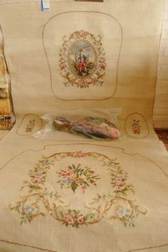 huge full set vintage tramme needlepoint canvas for chair lady with dog
