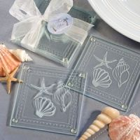 Beach Themed Glass Coaster Gifts.  Inexpensive and fun.