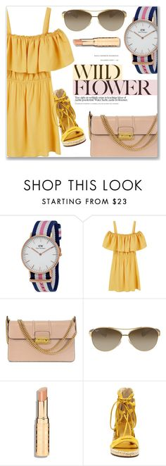 """""""Yellow Dress"""" by jomashop ❤ liked on Polyvore featuring Daniel Wellington, MANGO, Lanvin, Ray-Ban, Vince Camuto and yellow"""