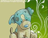 """Puppy - machine embroidery design for a baby and children of series """"Old Toy"""", ArtEmbroidery.ca"""