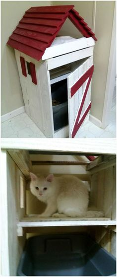Homemade Pallet Cat House - All in one place to give a full comfort to your cats - Cat playhouse --- from #Pallets