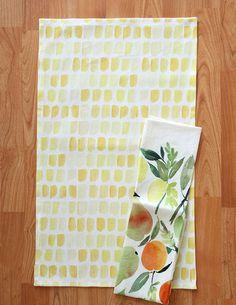Yao Cheng Design- Yellow Dots- Watercolor Tea Towel
