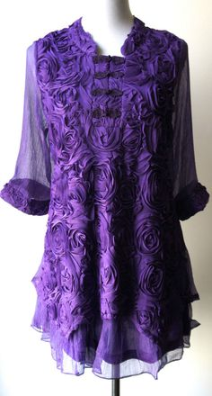 Pretty Angel Purple Tunic..handcrafted flowers & chinese knot buttons..ELEGANT #PrettyAngel #Tunic