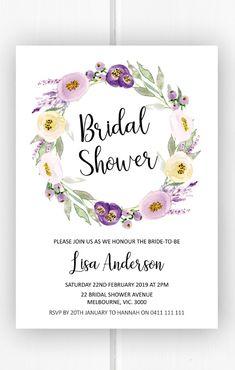 Bridal shower invitation printable, purple wreath bridal shower ideas, bridal shower invites from Pink Summer Designs on Etsy
