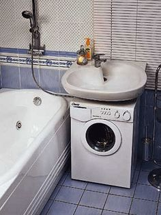 small sink and washer, eco friendly bathroom design