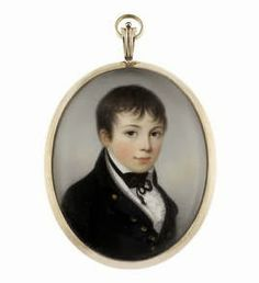 James Leakey (British, 1773-1865) -  A Young Midshipman, wearing dark blue coat, white waistcoat, chemise and frilled cravat, black stock and ribbon necktie. Gold frame, the reverse glazed to reveal gilt-metal border, surrounding a lock of hair, secured with gilt-wire and set against plaited hair. Oval, 69mm (2 11/16in) high