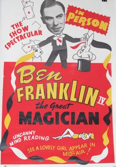 Original Vintage Ben Franklin the Great Magician Poster by HodesH