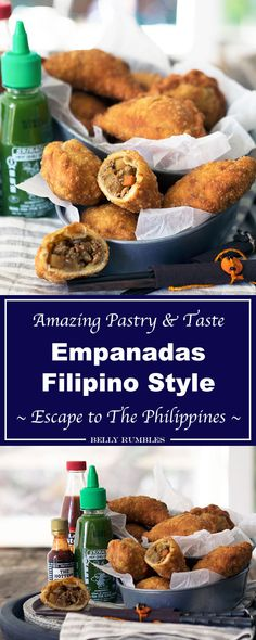 empanadas, full of flavour with flaky light pastry using a secret ingre. Filipino empanadas, full of flavour with flaky light pastry using a secret ingre. Filipino empanadas, full of flavour with flaky light pastry using a secret ingre. Filipino Food Party, Filipino Dishes, Thai Street Food, Cuban Recipes, Filipino Recipes, Filipino Desserts, Appetizer Recipes, Snack Recipes, Cooking Recipes